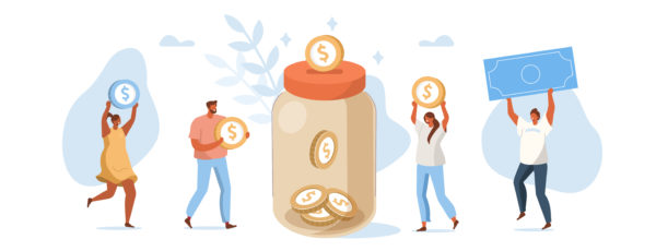 People Character Donate Money for Charity. Volunteers Collecting and Putting Coins and Banknotes in Donation Jar. Financial Support and Fundraising Concept. Flat Isometric Vector Illustration.